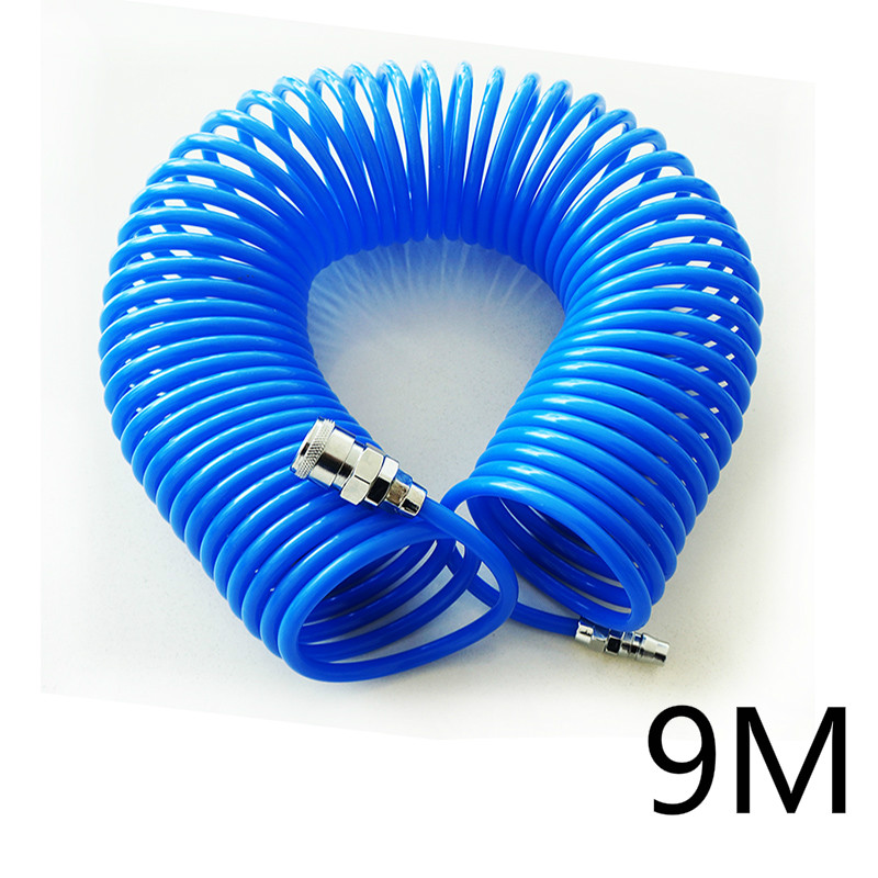 9M The wind pipe PU spring tube air compressor pump pipe 5*8 with joint flexible hose with spiral pipe joint uxcell 16ft 8mm inner dia clear plastic pvc hose pipe tube for tank air pump aquarium