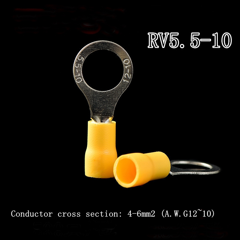 RV5.5-10 pre-insulated terminal cold-pressed terminal block O-shaped round copper nose yellow