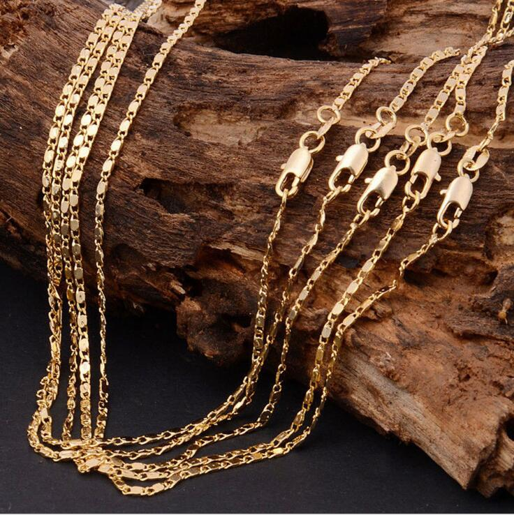 10pcs/lot Wholesale Silver Necklaces Chain,2mm 925 Jewelry Gold/Silver Plated Link Chain Necklaces 16
