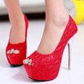 2017 Sexy Ultra Thin High Heels Charming Open Peep Toe Platform Red Black Beige Lace Glitter Party Wedding Shoes Women Pumps