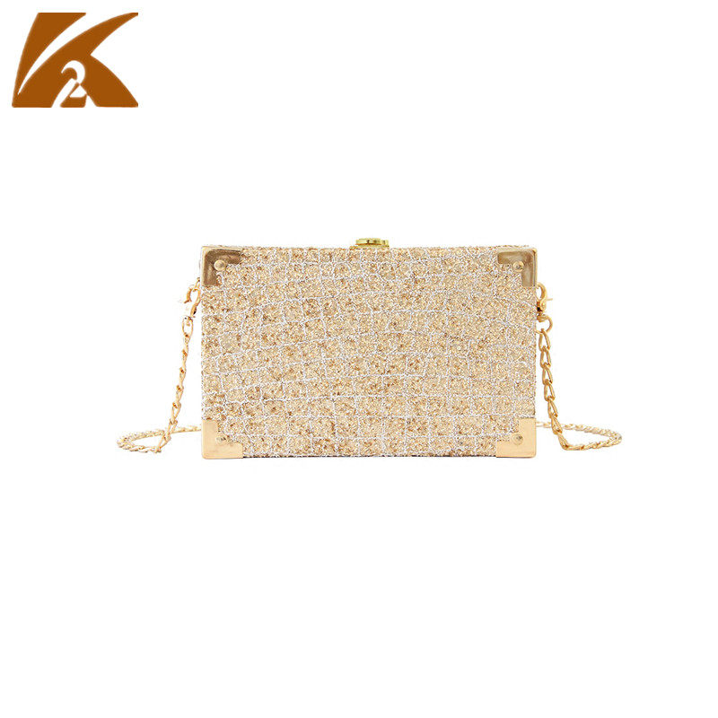 2018 New Fashion Trunk Box Crossbody Bags for Women Sequins Evening Clutch Party Purse Female Mini Small Chain Shoulder Bag Pink