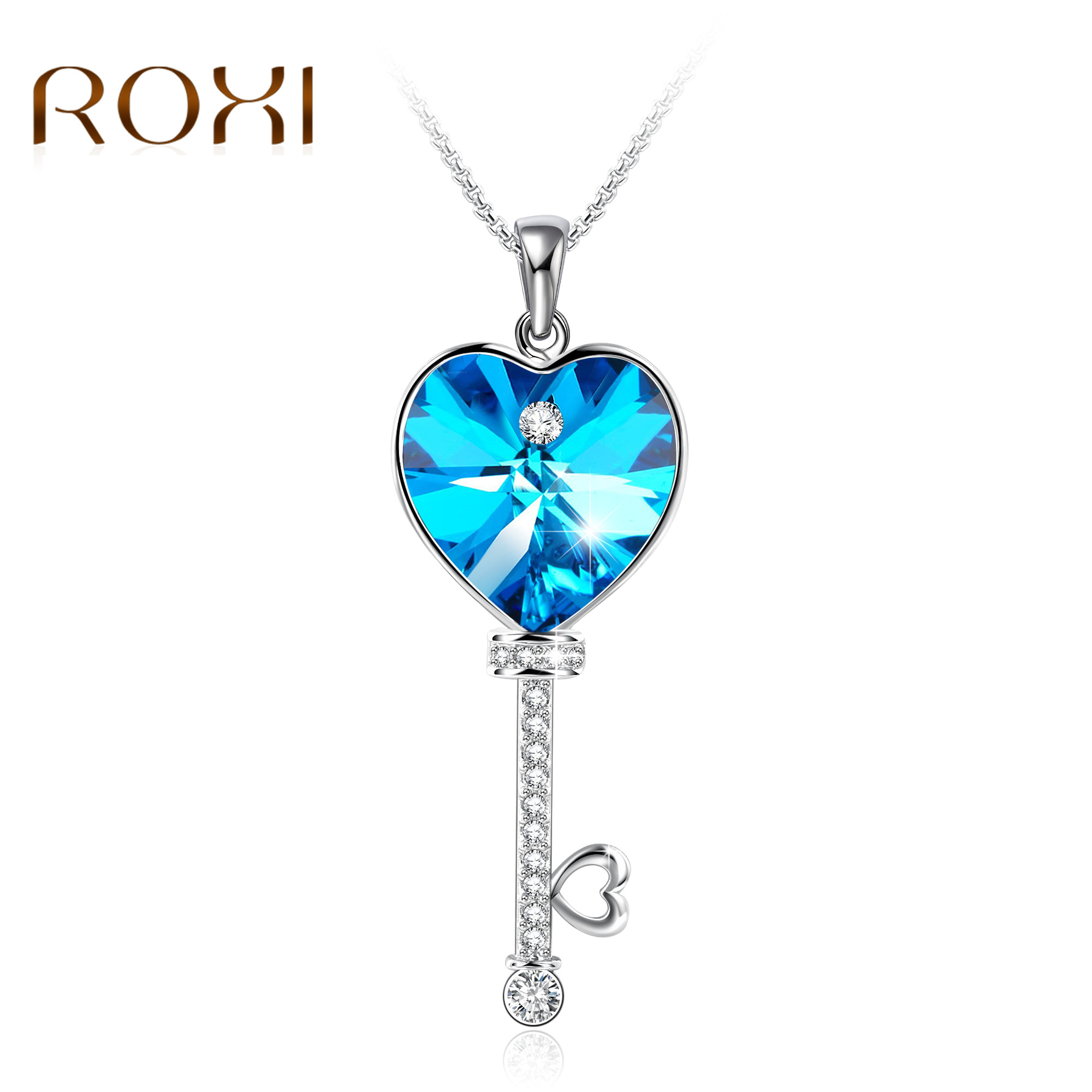 2019 Necklace Women Heart Shape Blue Crystal Pendant Necklace Fine Jewelry Key of Love Choker Necklace for Valentine's Gifts