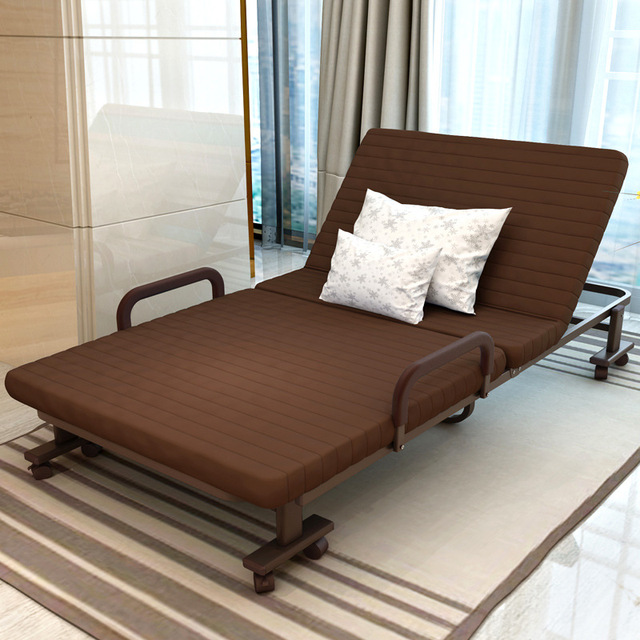 Beautiful Simple Modern Folding Single Bed Office Living Room Balcony Lazy Noon Break  Folding Bed Soft Cotton Part 17