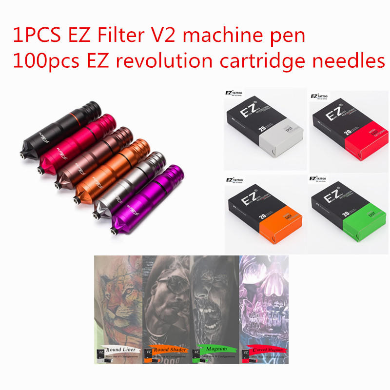 EZ Filter V2 Tattoo machine Pen and 100pcs EZ Revolution Cartridge Tattoo Needles tattoo kits for Tattooist Tattoo supplies EZ Filter V2 Tattoo machine Pen and 100pcs EZ Revolution Cartridge Tattoo Needles tattoo kits for Tattooist Tattoo supplies