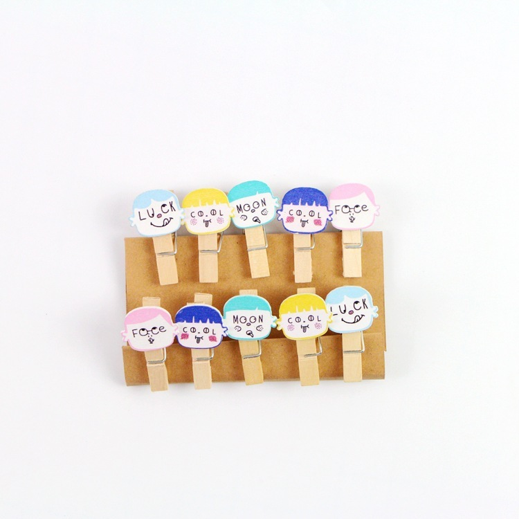 10 Pcs/lot Kawaii Letter Doll Wooden Clip Photo Paper Clothespin Craft Clips Party Decoration Clip With Hemp Rope Office Binding Supplies