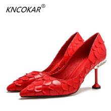 New sharp head water drilling thin heel high women's shoes temperamental snake print sexy black real leather red wedding shoes