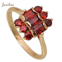 New 2019 Amazing Yellow Gold Red Garnet Rings For Women Fashion Jewelry Size 5.5 6 6.5 7 7.5 8 R286