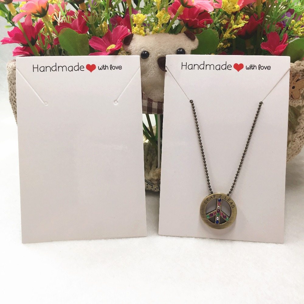 11.4*7.5cm Kraft paper handmade with love Necklace Packaging Cards 100pcs//lot
