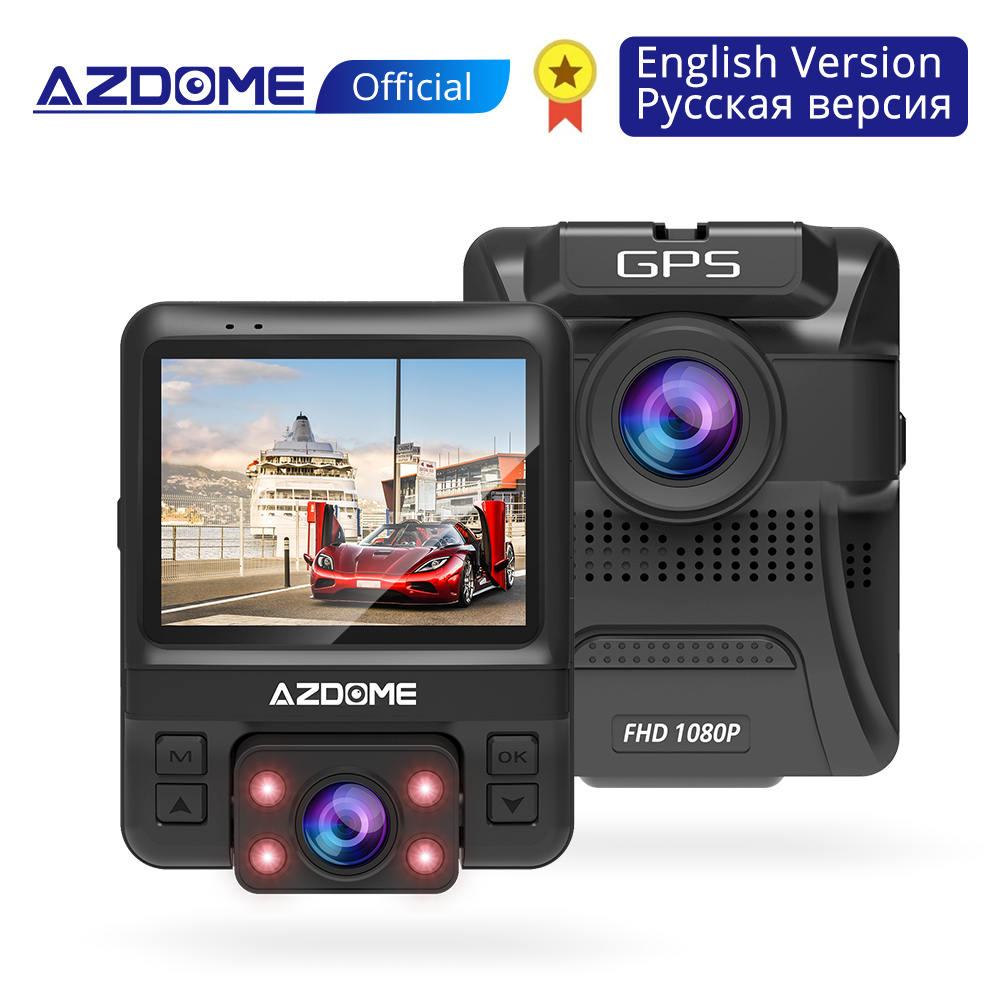 "Azdome gs65h original mini dual lente dvr carro 2.4 ""novatek 96655 câmera do carro 1920x1080p full hd traço cam night vision g-sensor"