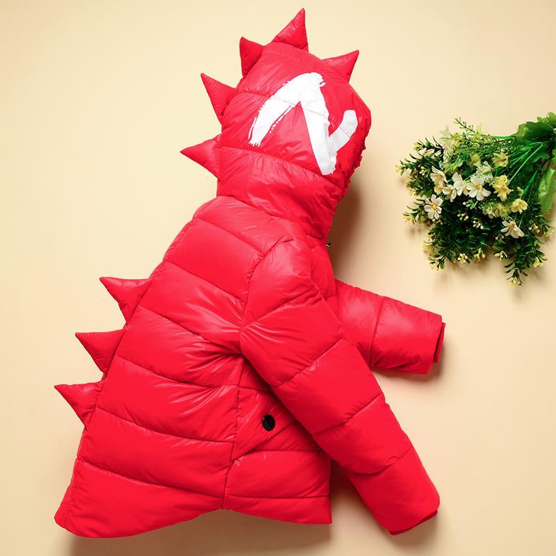 Inverno crianças meninos jaquetas dos desenhos animados tyrannosaurus meninas casaco de inverno crianças outerwear bebê meninos/meninas para baixo jaqueta roupas infantis