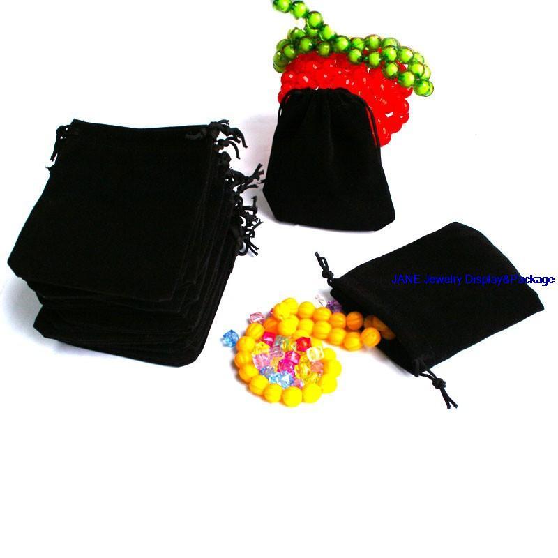 25pcs Velvet Drawstring Jewellery Gift Bag/Pouch (9x7cm) Wedding Favour Black Color