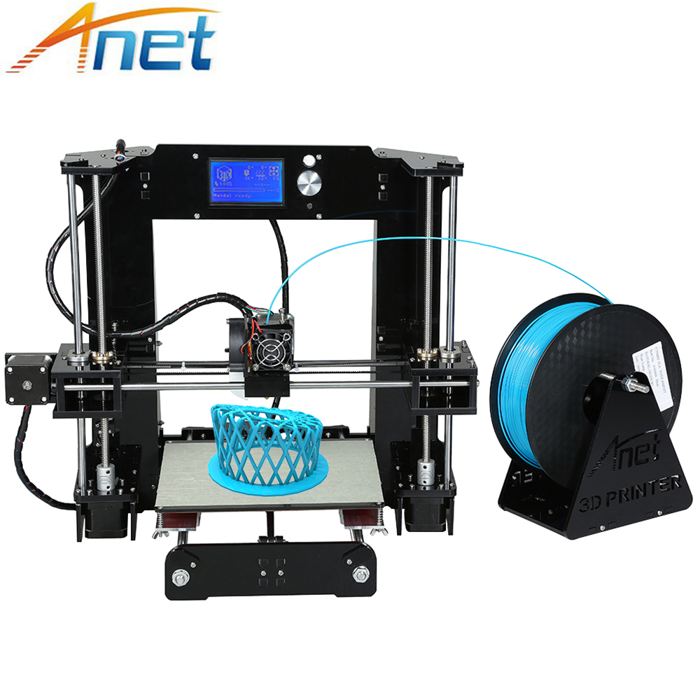все цены на Anet A8 A6 3D Printer High Precision Three-dimension Printing LCD Screen Reprap I3 DIY 3D Printer Kit Filament 8G SD Card онлайн