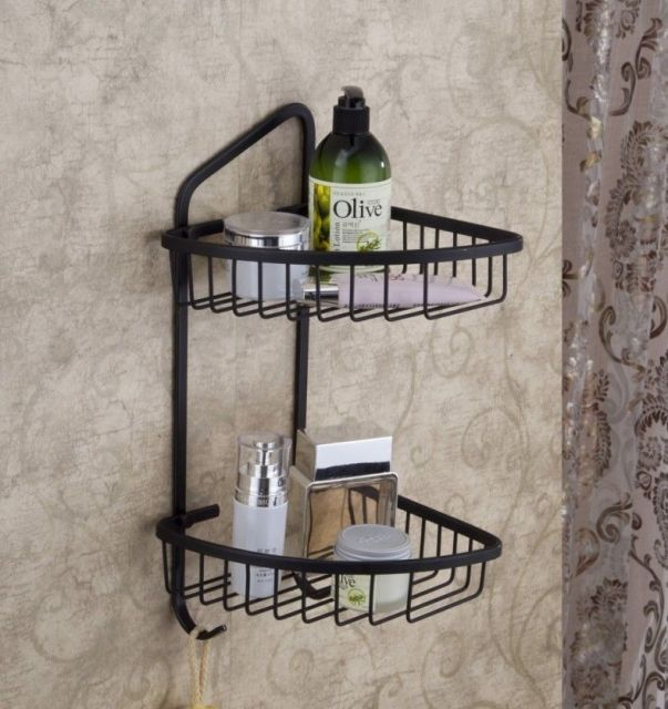 Oil Rubbed Bronze Two Tier Corner Shower Caddy Basket Bathroom