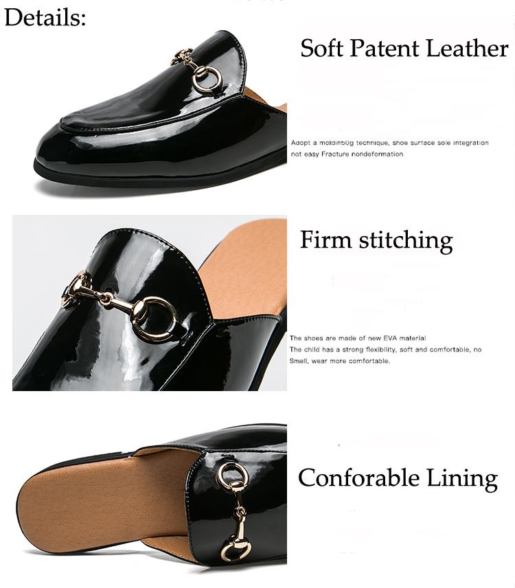 Men Backless dress leather slipper shoes Men unisex Bee prints Horseshoe buckle Casual business wedding Leather shoes women 9