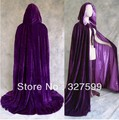 Envío gratis alineado Purple Prp Velvet Cloak cabo Wicca boda Vampire Halloween Party