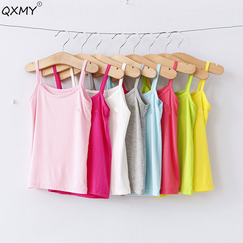 T-Shirt Teenager Clothes2-12t Baby-Girls Kids Children Summer Sleeveless for Vest Candy-Color