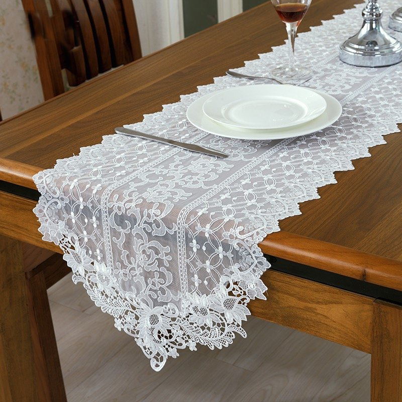 buy fashion european style white lace table runner wedding white table runners for party decoration luxury wedding table overlay from - Wedding Table Runners