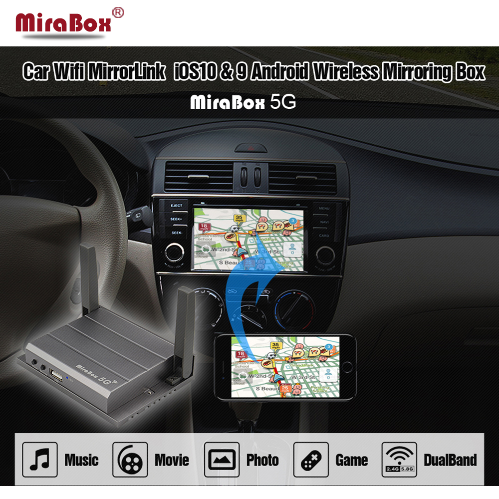 Mirabox 5G voiture wifi Mirrorlink boîte Support Youtube Mirroring pour iOS Android téléphone iPad voiture maison Mirrorlink boîte RCA USB HDMI