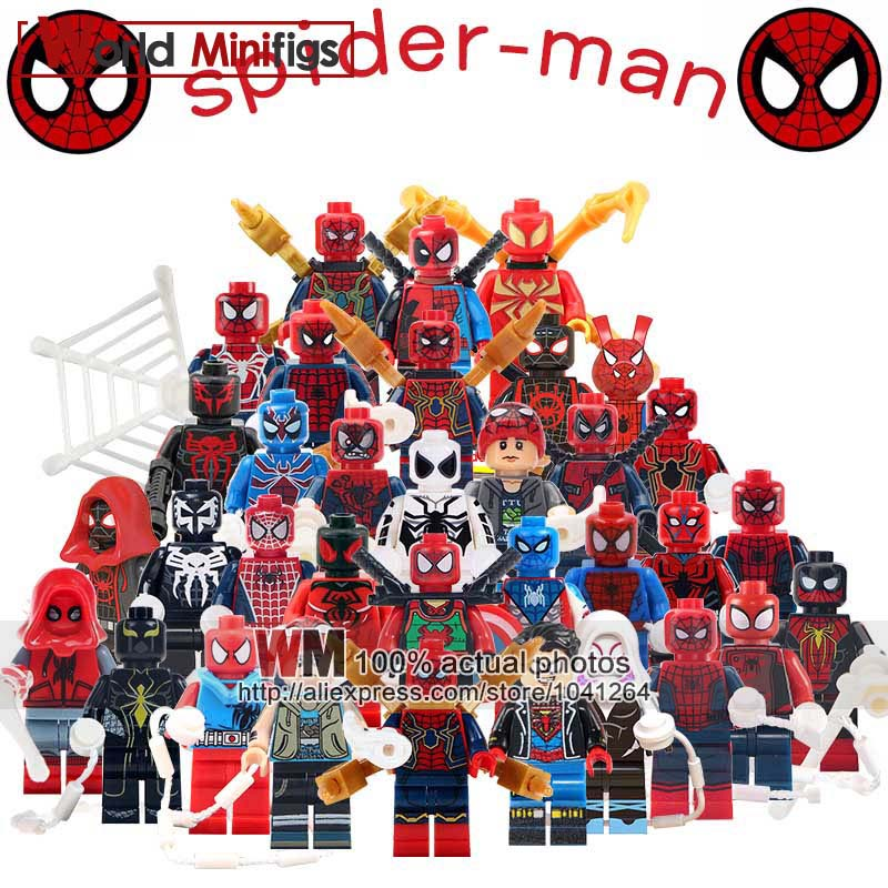 34pcs/lot Legoings Super Heroes Spider Man Spider Ham Miles Morales Prowler Gifts Toys For Building Blocks Children Friend Toys & Hobbies