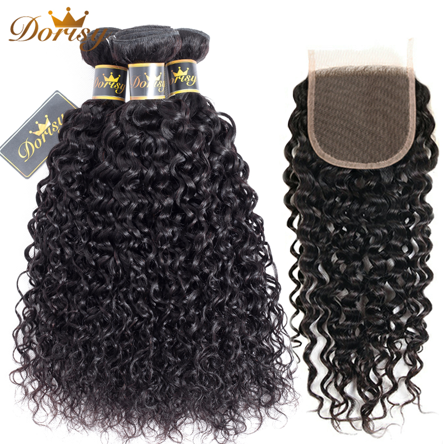 Water Wave Bundles With Closure Brazilian Human Hair Bundles With Closure Brazilian Hair Weave Bundles Remy