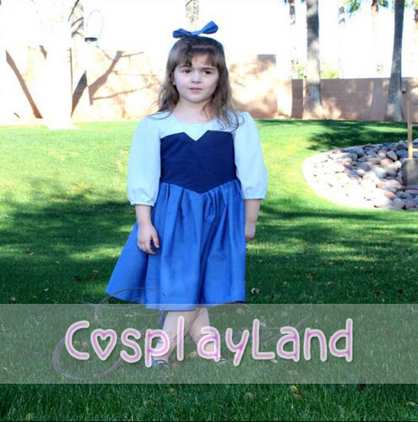 Girls Dresses Costume The Little Mermaid Ariel Blue Dining Child Princess Cosplay Party Fancy Dress