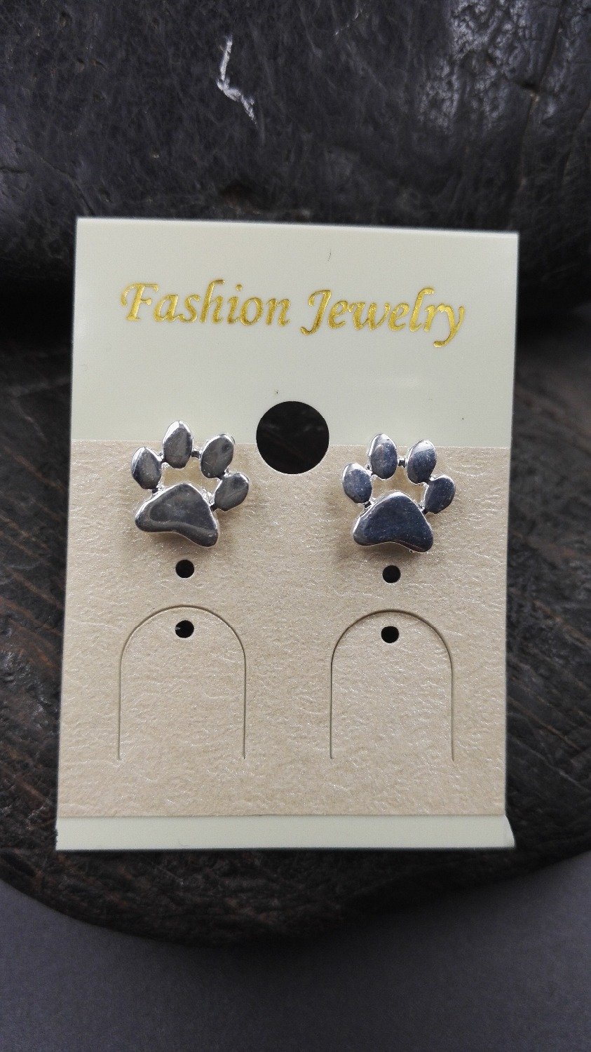 pmr dog puppy paw bling earrings studs jewelry sterling stud silver print
