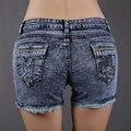 Летом женские джинсовые шорты женщин свободного покроя микро-эластичной середине талии кисточкой кристалл короткие шорты женщин Mujer горячая распродажа DK4B