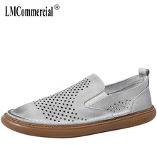 summer breathable lazy casual shoes mens Korean version luxury men designer natural leather loafers