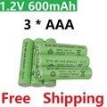 3psc/lot Recarregável Baterias (bateria AAA) 1.2 v 600 mAh Ni-MH Bateria Li-ion De Lítio Lanterna a laser 1.2 V 600 MaH aaa bateria