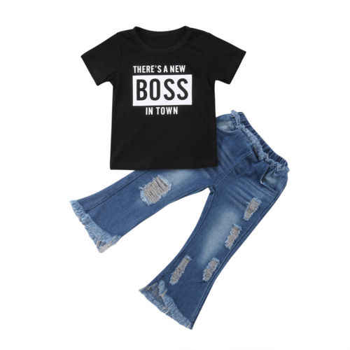 Toddler Boy Boss Quần Áo Đặt Bé Trai Ngắn Tay Áo Cotton T-shirt + Quần Denim 2 cái Trẻ Em Set thời trang Quần Jean Quần Áo 1-6Y