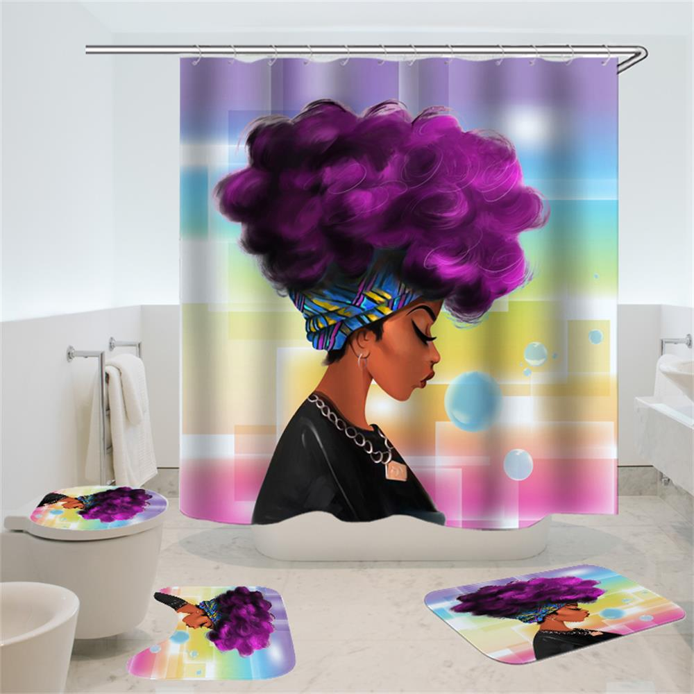 Image 3 - 4 Pcs African American Women Shower Curtain Bath Rug Sets Toilet Cover Bath Mat Set Bathroom Accessories Curtains With Hooks-in Shower Curtains from Home & Garden