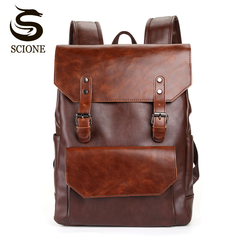 Vintage Style Men PU Leather Backpack Mens Fashion Waterproof Backpack Male College High School Bags Rucksack Travel Bag Mochila new 2016 brand high quality leather backpack men casual laptop backpacks college style school book bags mochila rucksack 112zs