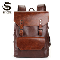 Vintage Style Men PU Leather Backpack Mens Fashion Waterproof Backpack Male College High School Bags Rucksack Travel Bag Mochila
