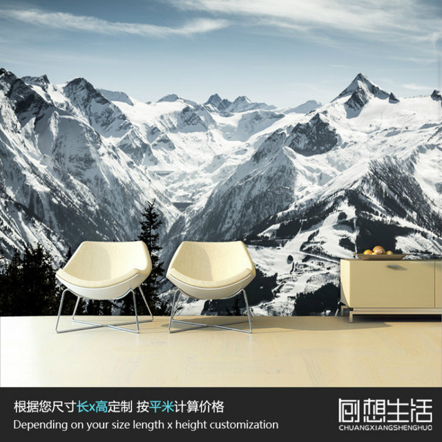 Mural alpine schnee landschaft schlafzimmer wand 3d wallpaper für ...