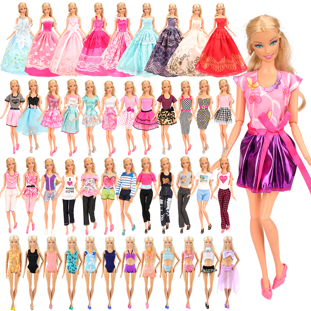 Fashion Handmade 16 Items/set= 5 Doll Dress Random +3 Swimsuits + 3 Long Dresses + 5 Dolls Accessory Clothes For Barbie DIY Game