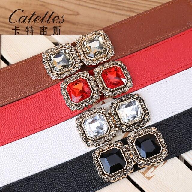 Catelles Strass Feminino Vestido Elastic Cintura Cinto Largo Para As Mulheres Cintos De Luxo Mulher De Casamento Tensão Cummerbunds Strass