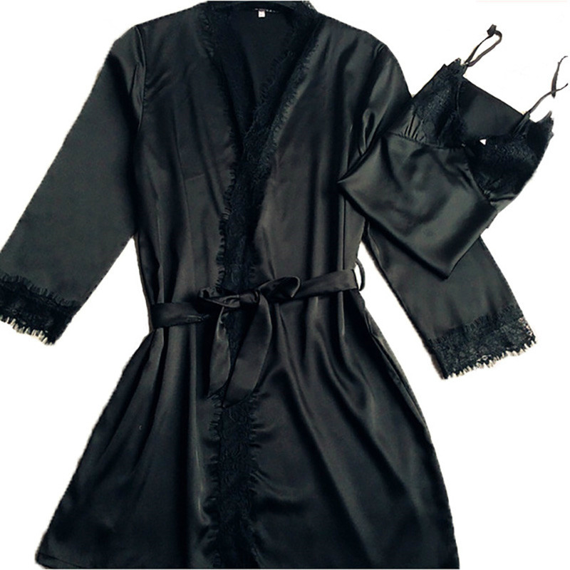 New BLACK Women Satin Robe 2PCS Robe&Nightie Nightgown Sexy Lace Kimono Bathrobe Gown Bridesmaid Wedding Robes M L XL XXL A-104