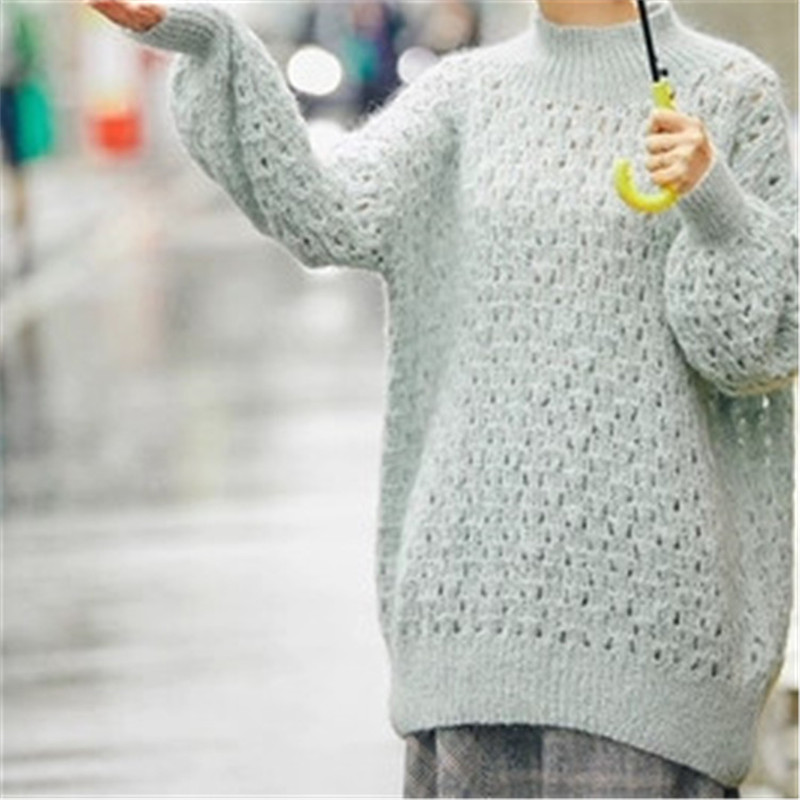 100% Hand Made Mohair Knit Women Fashion Solid Hollow Turtleneck Loose Thin Pullover Sweater White 5color Customized