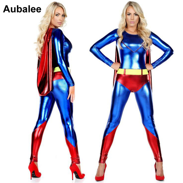 Superhelden Dames Kostuums.Us 27 9 Sexy Super Vrouwen Supergirl Zentai Bodysuit Superman Cape Dc Superheld Kostuum Party Halloween Vrouwen Jumpsuit Catsuit In Sexy Super