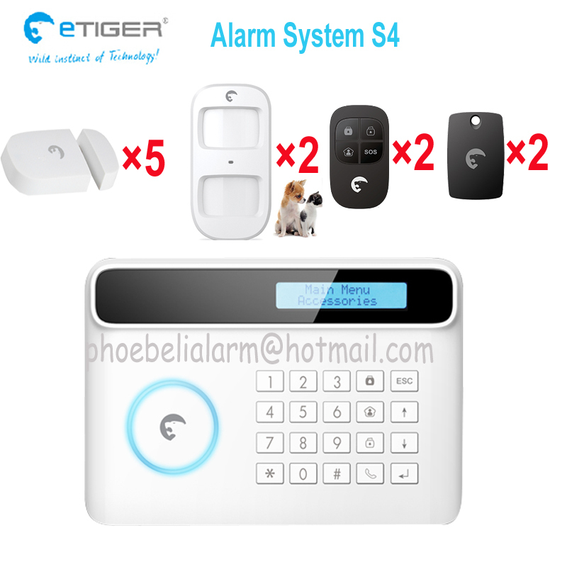 Free shipping GSM home Burglar security alarm system 433 MHZ wireless 2pcs pet immnue PIR font