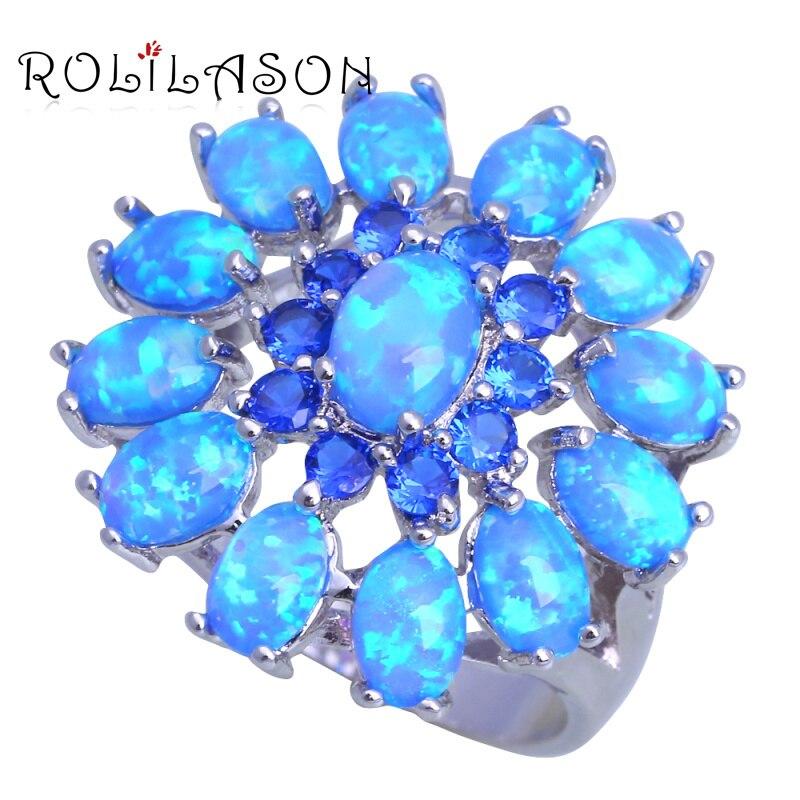 ROLILASON Attrayant Bijoux De Mode bleu Zircon Muliticolor bleu Opale de feu Argent Estampé Anneaux USA Taille #5 #6 #7 #8 #9 #10 OR909