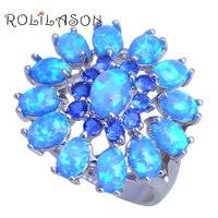 ROLILASON Attractive Fashion Jewelry Blue Zircon Muliticolor Blue Fire Opal Silver Stamped Rings USA Size 5