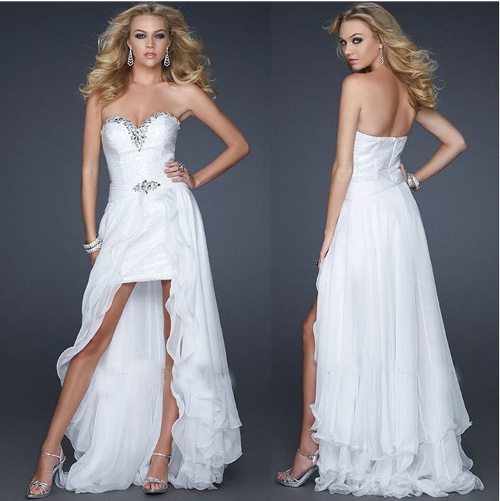 White Chiffon Front Short And Long Back Asymmetrical Prom
