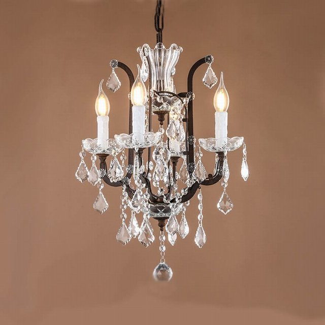 Retro Vintage antique rust french mini 4 arms chandelier crystal european  empire style crystal chandelier for - Retro Vintage Antique Rust French Mini 4 Arms Chandelier Crystal