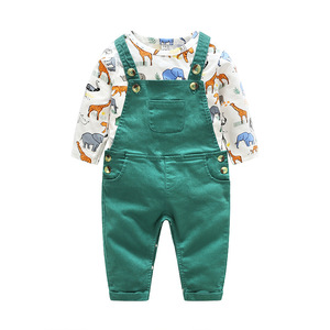 Image 2 - Barboteuse pour nouveau né garçon fille, tenue de printemps pour bébé, body + pantalon à bretelles, barboteuse pour enfant, à manches longues