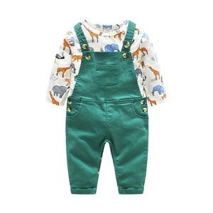 Image 2 - יילוד תינוק ילד ילדה בגדי Romper ארוך שרוול אביב קריקטורה תינוק בגד גוף + ביב צפצף תלבושת ילדי סט חמוד תינוק rompers