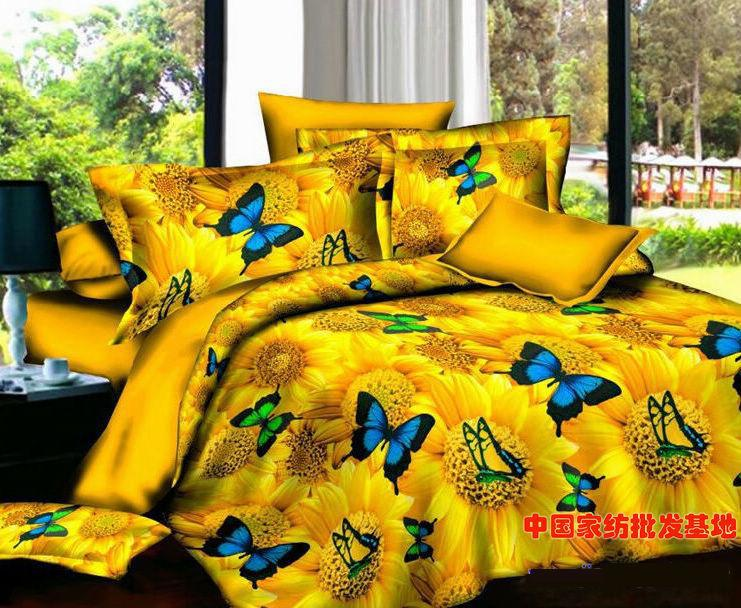 Yellow Butterfly Sunflower Bedding set floral Queen size full double quilt duvet cover bed in a bag sheet bedspread linen 4PCS