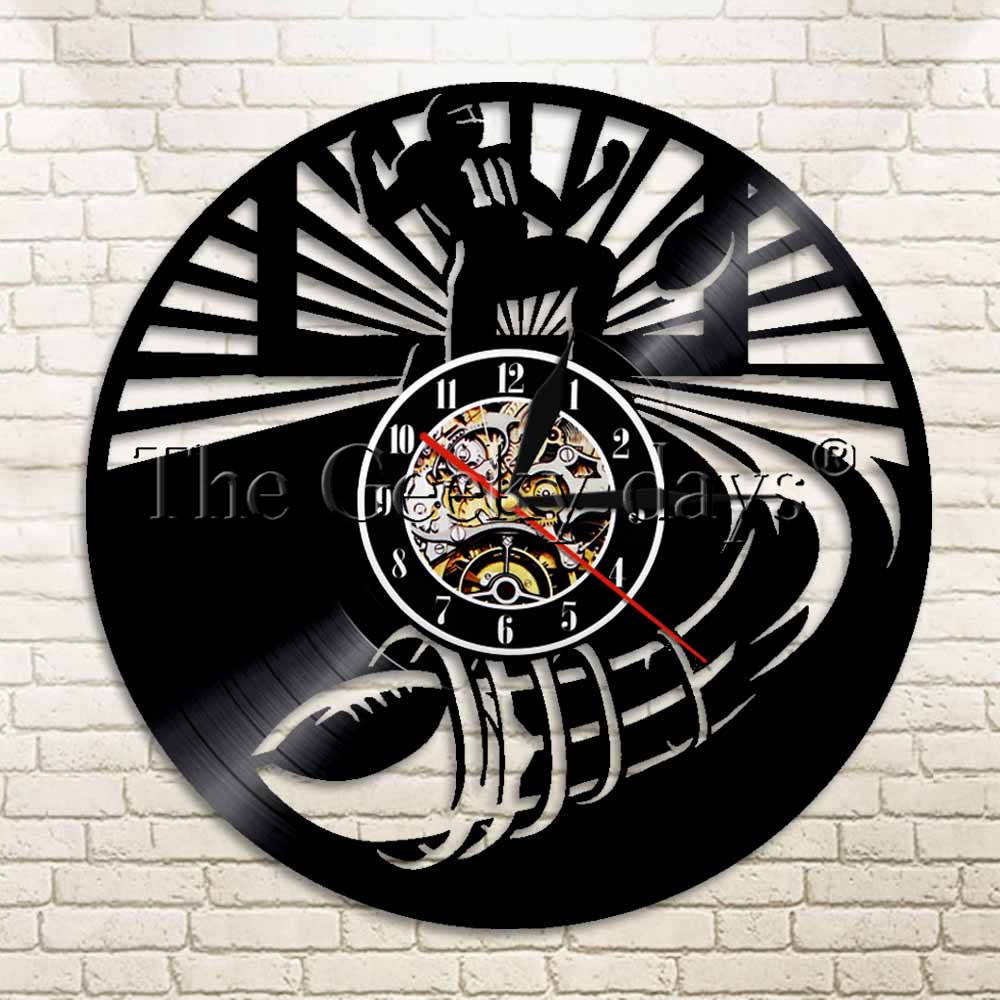 1Piece American Football Vinyl Wall Clock Sports Wall Clock Football Wall Art Gift For Rugby Fans