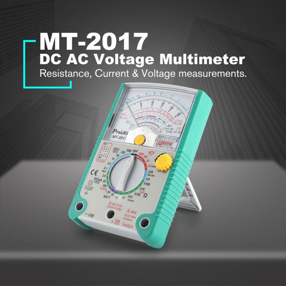 Prost'kit MT-2017 MT-2018 analógico multímetro de segurança padrão ohm teste medidor dc ac tensão atual resistência multímetro