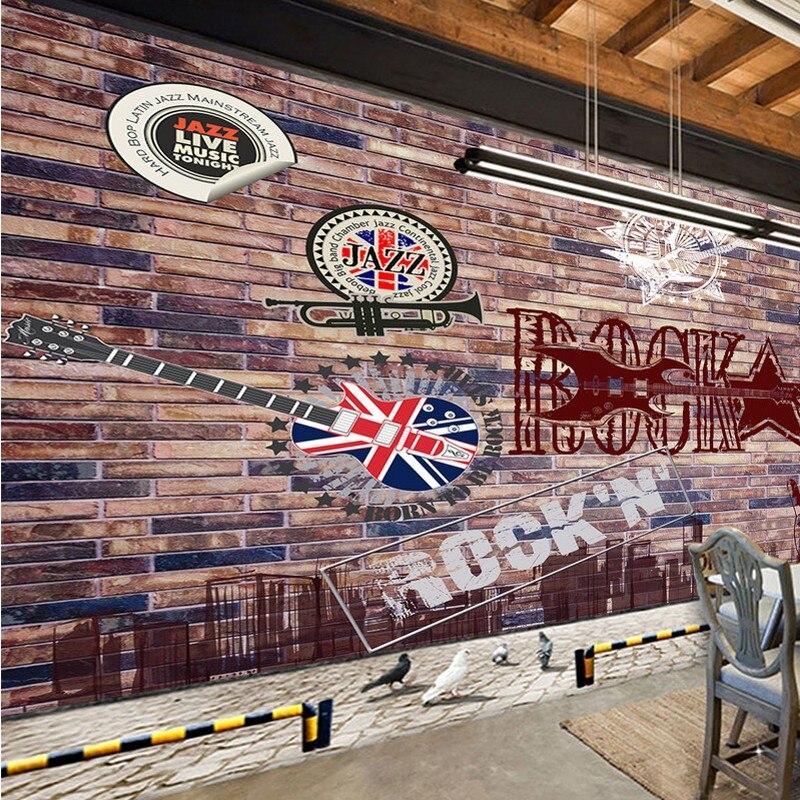 Livraison gratuite fond d'écran personnalisé Personnalité Musique Restaurant Mur de Briques Rock KTV Bar Mur Fond d'écran 3d brique bois